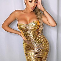 New fashion strapless solid color long sleeve dress Golden