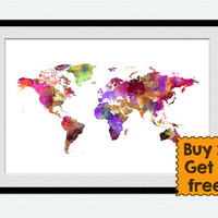World map print Watercolor world map illustration World map poster Home decoration Kids room wall art Christmas gift Office wall decor W347