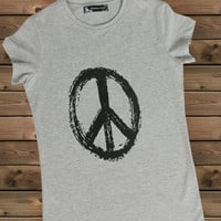 Women's Tshirt Peaceon a Bike Ladies Gray T Shirt,Screen Printing T shirts,Women's T-Shirts,  Tshirt,Size S, M, L