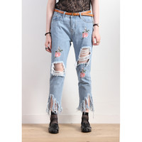 Floral Embroidery Distressed Mom Jeans