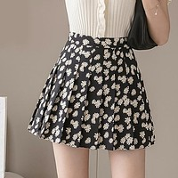 Women Pleated Skirt Sexy High Waist Print Floral Mini Skirt Fashion A Line Perppy Style Girls Dance Skirt