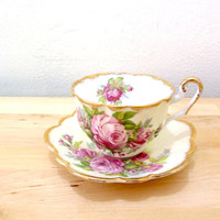 Vintage Windsor Tea Cup / Pink Rose Cup / Teacup and Saucer Set / 50s Teacup / Country Cottage Decor