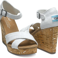 IVORY LINEN WOMEN'S STRAPPY WEDGES