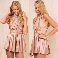 Casual Pants Ruffle Hollow Out Backless Club Shaped Romper [10452582919]
