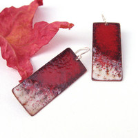 Enamel earrings red big stylish OOAK copper and sterling silver autumn artisan jewelry by Alery