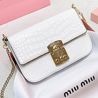 MIU MIU New fashion leather  chain shoulder bag crossbody bag White