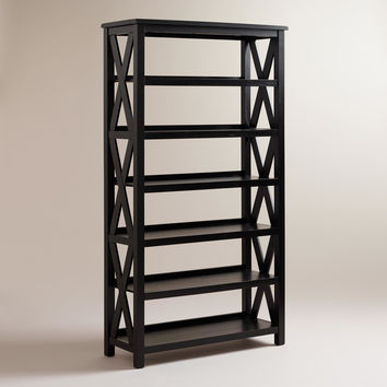 Antique Black Verona Six-Shelf Bookcase - World Market