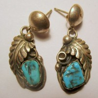Vintage Earrings Native American Navajo-Silver and Turquoise- etched design-old pawn RARE- small light weight- Unique gift
