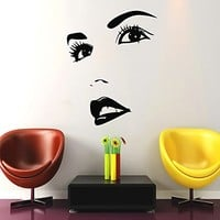 Makeup Wall Decal Vinyl Sticker Decals Home Decor Mural Make Up Girl Woman Eyes Face Lips Fashion Cosmetic Hairdressing Hair Beauty Salon Decor (6045)