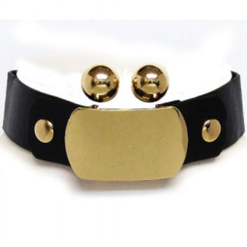 """12.50"""" gold faux leather 2"""" ID choker collar necklace .50"""" earrings"""