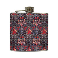 Ornate Liquor Hip Flask Decorative Flower Blue Pink Collage Girls Bridemaids Gift Stainless Steel 6 oz Liquor Hip Flask LC-1070