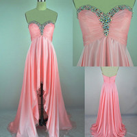 Sweetheart Pink beadings Asymmetrical Prom Dress  from Gorgeous prom
