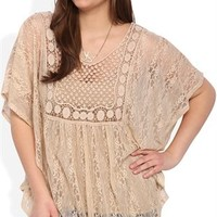 Plus Size Short Sleeve Lace and Crochet Peasant Top
