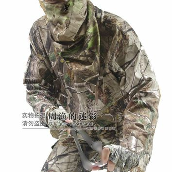Spring Autumn Breathable Bionic Camouflage Hunting Clothing 5pcs/set Tactical Camo Jacket, Trousers, Hat, Face Mask, Gloves
