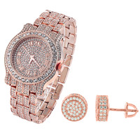 Men's Hip Hop 14k Rose Gold Finish Iced Out Techno Pave Watch & Designer Earrings Combo
