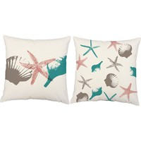 Stars and Shells Forever Beach Throw Pillows