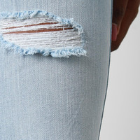 Distressed Stone Wash Denim Jeans