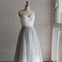Strapless Ivory Lace Silver Grey Tulle Tea Length Short Wedding Dress/Bridesmaid Dress/Prom Dress