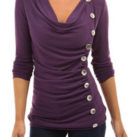 Purple Long Sleeve Ruched T-shirt