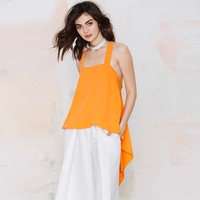 Orange Halter Cross Strap Back Asymmetric Loose Top