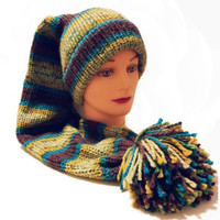 Stocking Hat, Tail Hat, Pom Pom Hat, Brown Hat, Blue Hat, Green Hat, Yellow Hat, Turquoise Hat, Long Hat, Colorful Hat, Fun Hat, Striped Hat