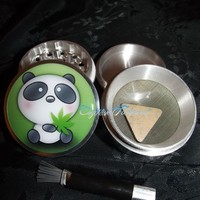 Panda Bear Weed Leaf 4 Piece Herb Grinder Pollen Screen and Catcher from Cognitive Fashioned