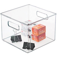 mDesign Office Supplies Desk Organizer Bin for Pens, Pencils, Markers, Highlighters, Tape - Square, Clear