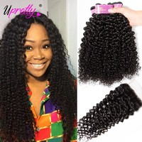 Upretty Hair Brazilian Curly Bundles With Closure Human Hair 3 Bundles With Closure Brazilian Hair Weave Bundles With Closure