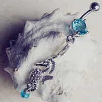 Cute Seahorse Belly Button Ring- Silver Seahorse Navel Ring Jewelry Piercing- B044