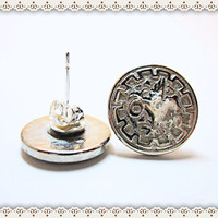 Silver Button Post Earring~ Silver Medieval Griffin Earrings~Women's Silver Earrings~Silver Toned Post And Keeper