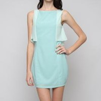 Gallery Curator Contrast Ruffle Sleeveless Shift Dress in Light Blue   Sincerely Sweet Boutique