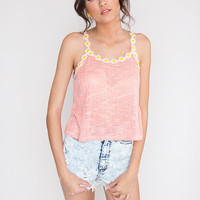 Over the Top Daisy Top - Coral