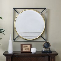 "Aiden Lane 31""x31"" Saxton Oversized Decorative Wall Mirror Black"