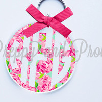 Lilly Pulitzer Inspired Key chain- Key Chain, Key Fob, Vinyl Monogram, Car Monogram, Personalized, Water Bottle Decal,Coole