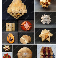 Free Shipping for Short Time!!! 5 Different Wooden Mind Puzzels and Logic Toys