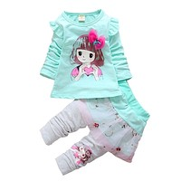 Spring Autumn baby girls sport outfits child clothing set suit set children T shirt pants clothes sets kids 2 pcs