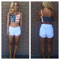 American Flag Button Down Bustier Crop Tank