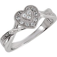 Sterling Silver CZ Crossed Band Heart Halo Promise Ring