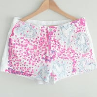 UNICORN White Denim Shorts~ neon Pink & Purple~ Bohemian Chic Clothing~ Size 32 Jean Shorts~ Gypsy Handpainted~ Kitsch Clothing~ Kawaii Boho