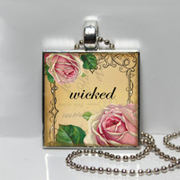 Altered Art Wicked and Pink Roses Square Tile Pendant Necklace SALE