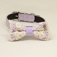 Lilac bow tie dog collar, Lilac leather dog collar, Lace bow tie, heart Key charm, Girl dog collar