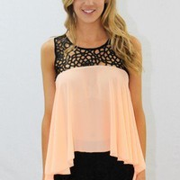 Apricot Silk Top With Contrast Lace - Always a Runway Clothing