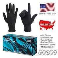 100PC Latex Exam Gloves Powder Free Size Extra Large Medium Small Strong Durable Disposable