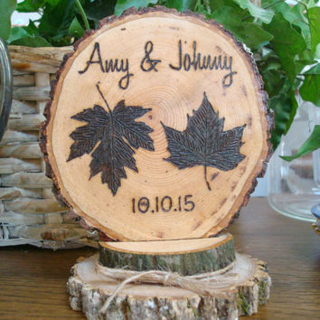 Rustic Woodland Leaves Wedding Cake Topper Wood Burned Personalized