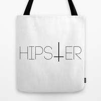 Hipster Reverse Cross Typography Tote Bag by RexLambo