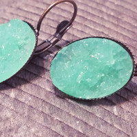 Druzy earrings-  Mint drusy bronze tone dangle druzy earrings