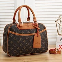 LV Louis Vuitton fashion letter printing color matching ladies shopping shoulder bag messenger bag cosmetic bag
