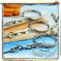 Set of 25 PCS X Silver Round Key Chain Ring w Link Chain / jump rings / Screw Eyes (SS.CN)