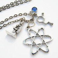 Chemist Charm Necklace, Atomic Whirl Jewelry, Personalized Birthstone Necklace, Atom Necklace, Geek Techie Science Neckace, Choose Length