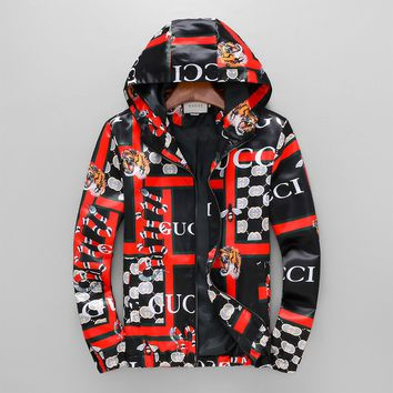 GUCCI 2018 autumn and winter new men's thin section hooded tiger head print fashion jacket